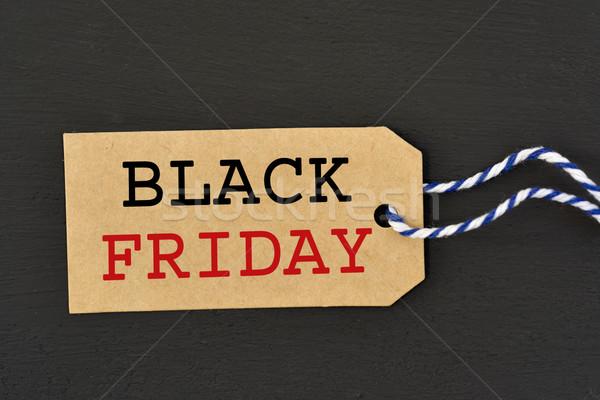 Tekst black friday brązowy papier etykiety napisany ciemne Zdjęcia stock © nito