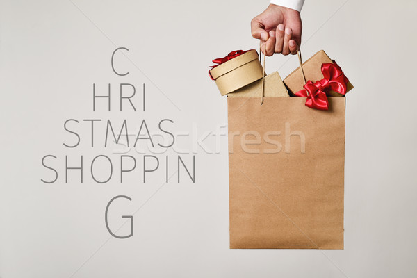 shopping bag with gifts and text christmas shopping Stock photo © nito