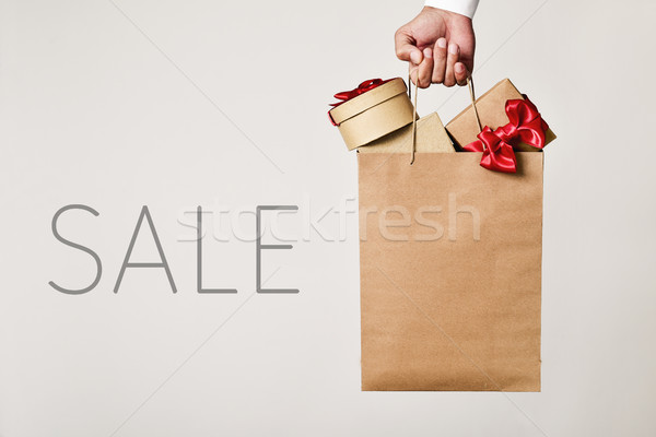 shopping bag with gifts and word sale Stock photo © nito