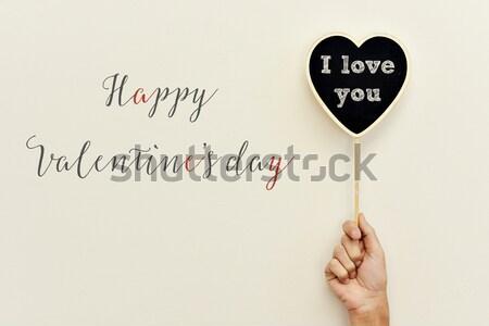 Texto feliz día de san valentín primer plano mano jóvenes Foto stock © nito