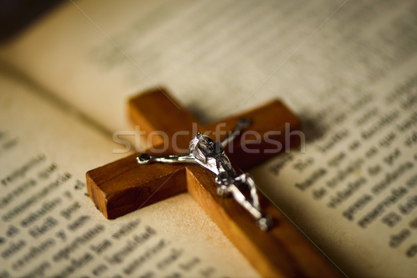 old christian crucifix on a bible Stock photo © nito