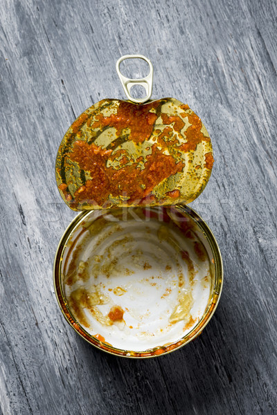 empty can on a rustic wooden table Stock photo © nito