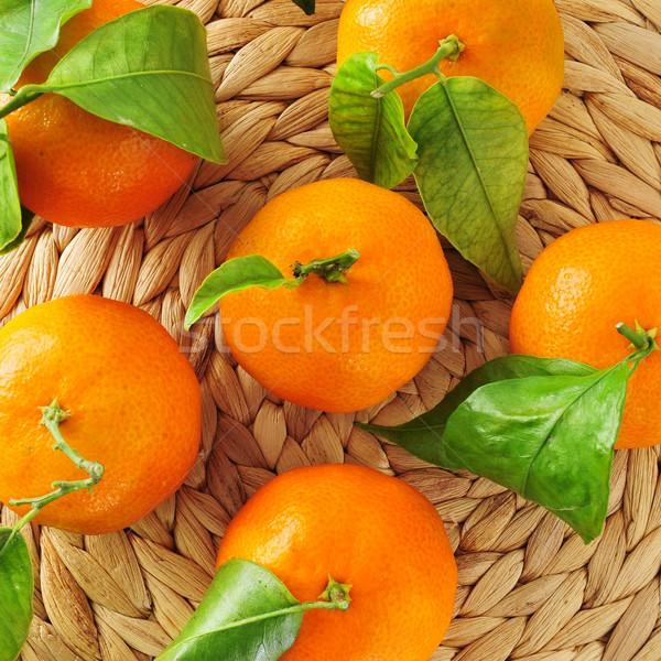Mandarijn- sinaasappelen smakelijk blad Stockfoto © nito
