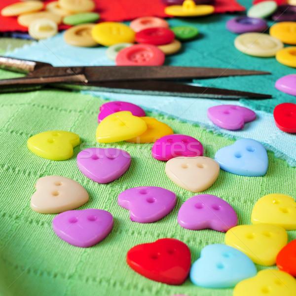 Сток-фото: швейных · семинар · Кнопки · многие · цветами · ржавые