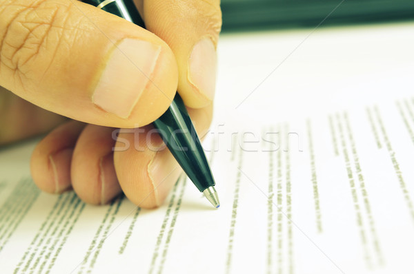 man hand with a pen, with a retro filter effect Stock photo © nito