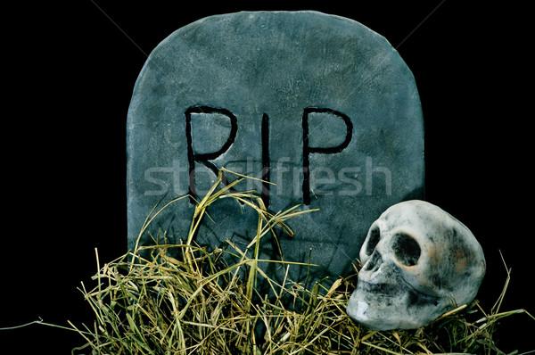 Halloween grave crâne cimetière noir Photo stock © nito