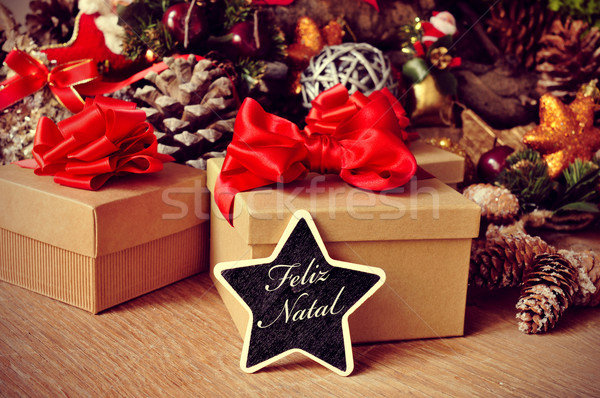feliz natal, merry christmas in portuguese Stock photo © nito