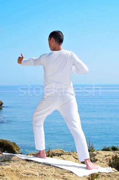 йога лучник создают морем баланса Сток-фото © nito