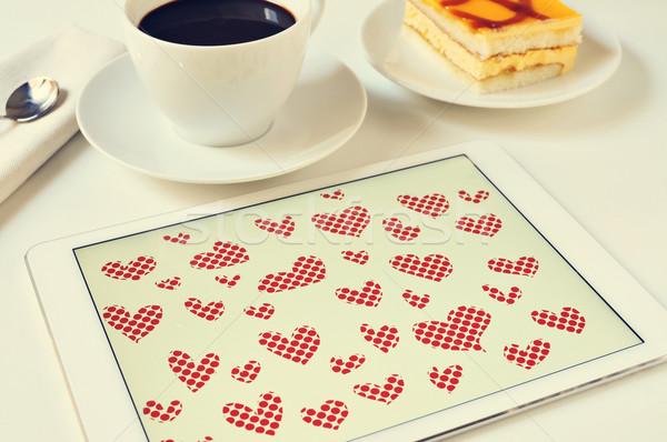 Corazones tableta gráficos editor mesa Foto stock © nito