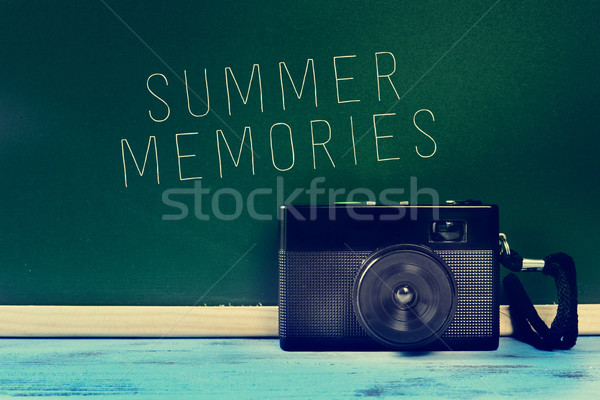 retro camera and the text summer memories, filtered Stock photo © nito