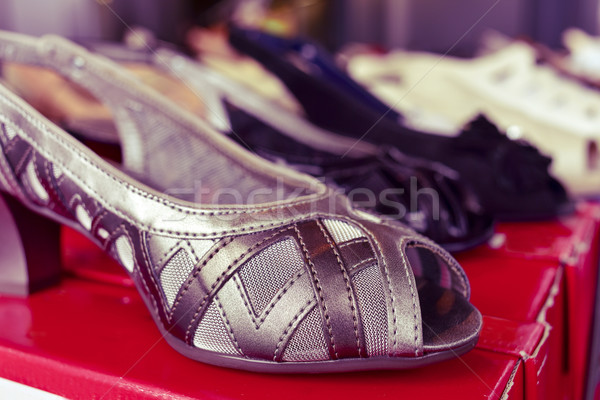 woman shoes on sale in a street market, filtered Stock photo © nito