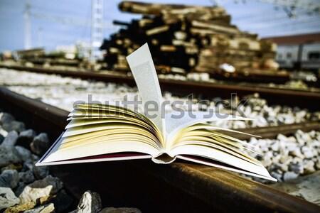 Książki czarno białe otwarta księga podróży Zdjęcia stock © nito