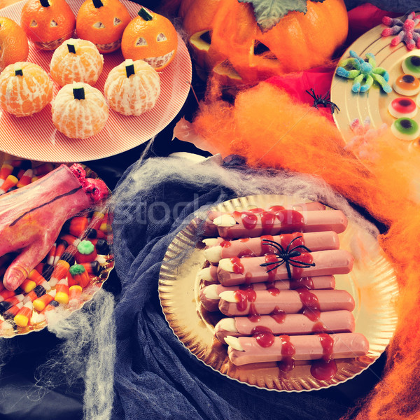 Halloween food, such as scary fingers and candies Stock photo © nito