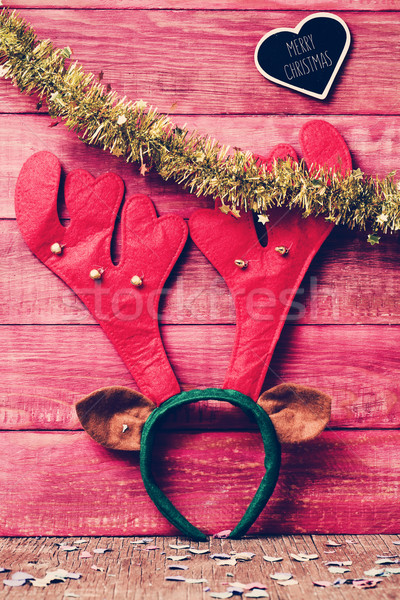 reindeer antler headband and text merry christmas, filtered Stock photo © nito