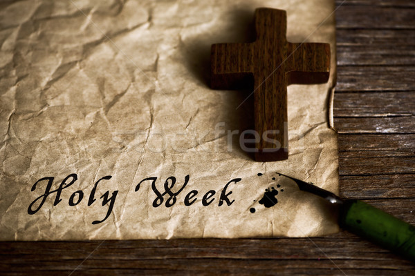wooden christian cross and text holy week Stock photo © nito