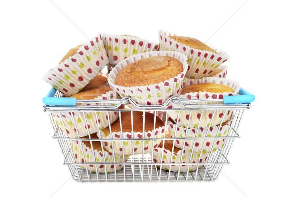 Muffinok bevásárlókosár fém tele fehér étel Stock fotó © nito