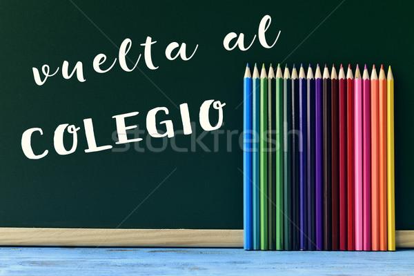text vuelta al colegio, back to school in spanish Stock photo © nito