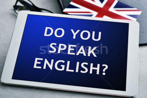 question do you speak English? in a tablet computer Stock photo © nito