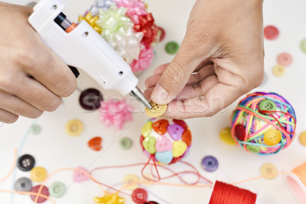 man making a handmade christmas ball Stock photo © nito