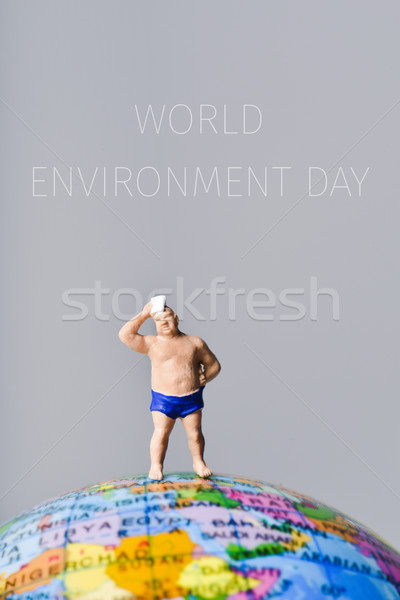 miniature man and text world environment day Stock photo © nito
