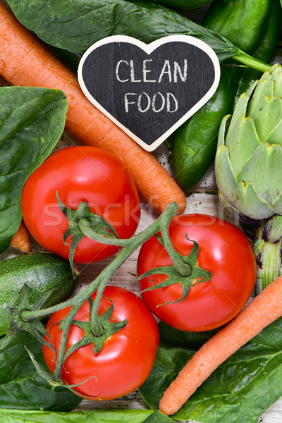 Stock photo: raw vegetables and text clean food
