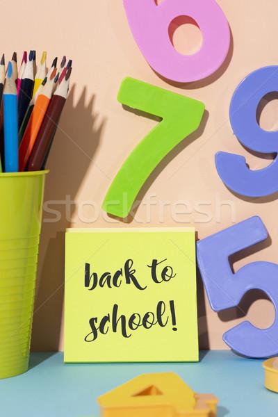 Números lápis giz de cera texto de volta à escola pote Foto stock © nito