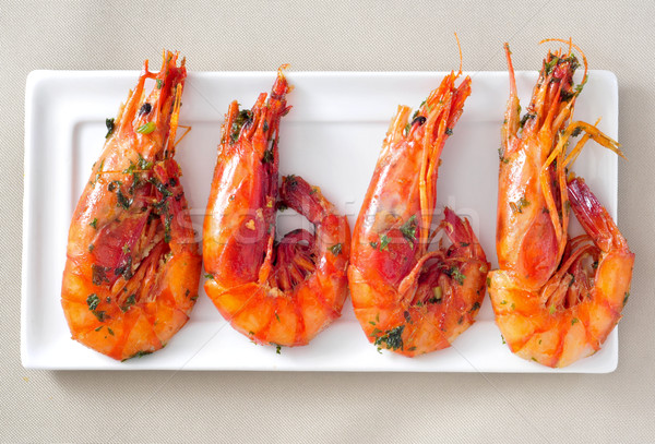 spanish shrimps with garlic and parsley Stock photo © nito