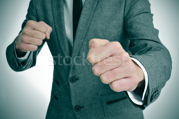 man in suit ready to fight Stock photo © nito