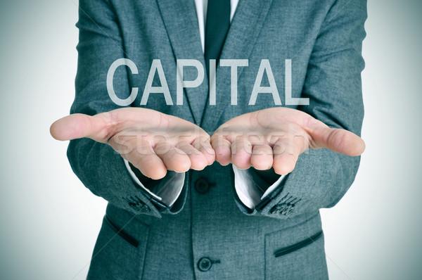 Zakenman handen woord Open business geld Stockfoto © nito