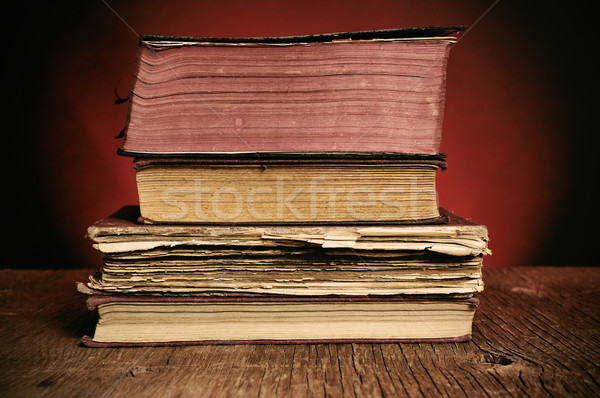old books on a rustic wooden table Stock photo © nito