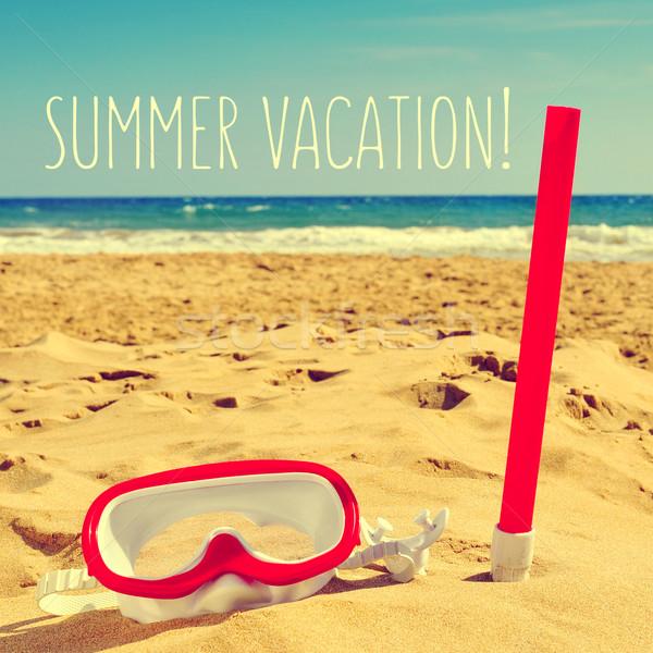 Búvárkodik maszk tengerpart szöveg nyári vakáció fehér Stock fotó © nito