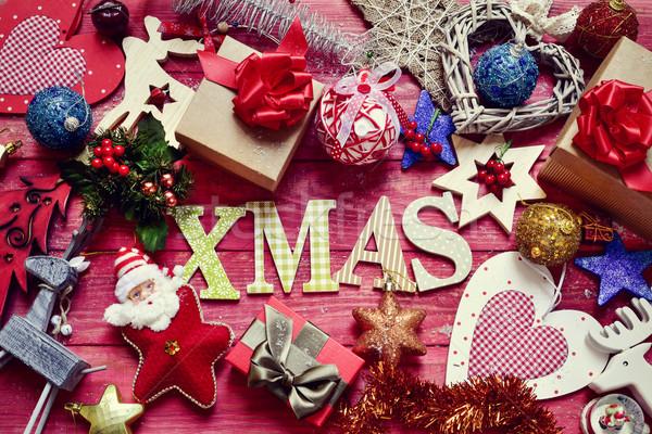 Stock fotó: Karácsony · díszek · szó · karácsony · lövés · levelek
