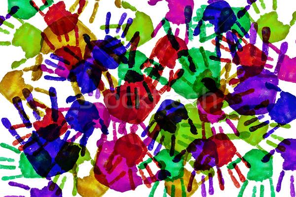 Verschillend kleuren veel hand ontwerp wereld Stockfoto © nito