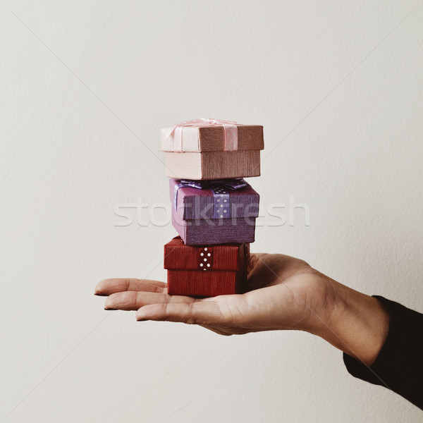 young woman with a pile of gifts Stock photo © nito