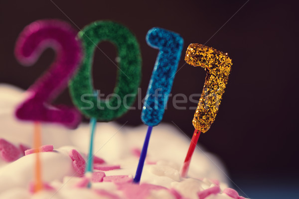 glittering numbers forming number 2017 on a cake Stock photo © nito