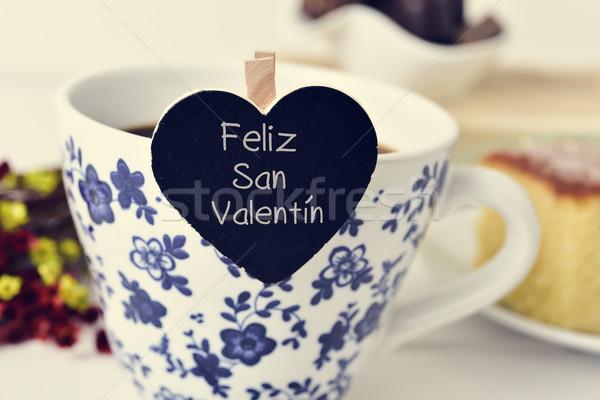 Gelukkig valentijnsdag spaans tekst geschreven Stockfoto © nito