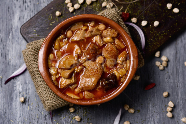 spanish callos, a beef tripe stew with chickpeas Stock photo © nito