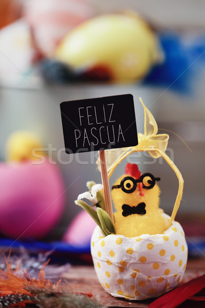 text feliz pascua, happy easter in spanish Stock photo © nito