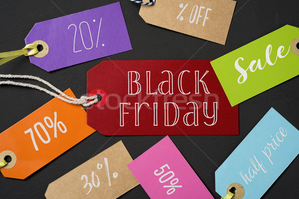 black friday and labels with different percentages Stock photo © nito
