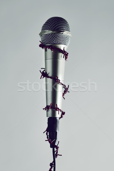 Dikenli tel etrafında mikrofon kırmızı fikir kitle Stok fotoğraf © nito