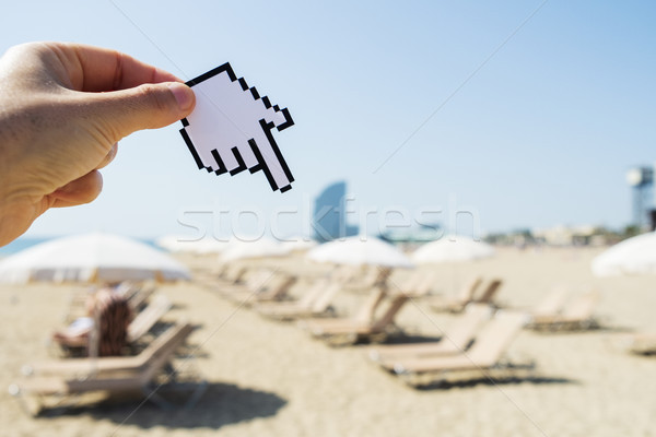 Homme pointant la plage Barcelone Photo stock © nito