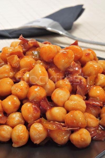İspanyolca serrano jambon hizmet plaka Stok fotoğraf © nito