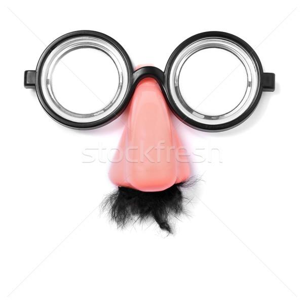 Sahte gözlük burun bıyık yüz beyaz Stok fotoğraf © nito