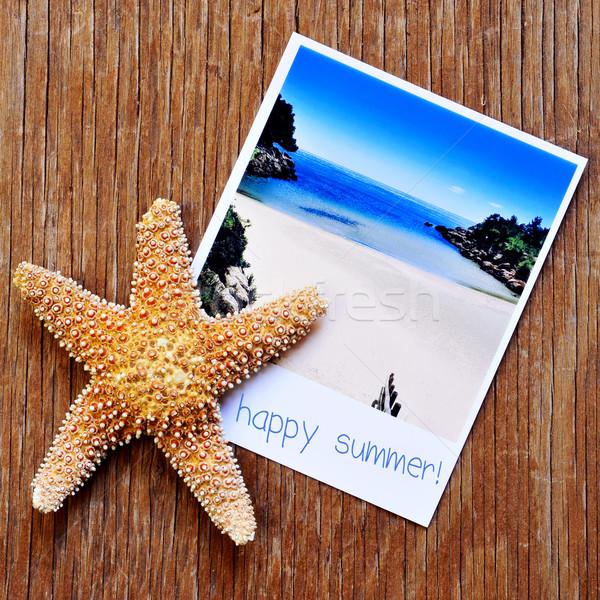 Zeester foto strand tekst gelukkig Stockfoto © nito