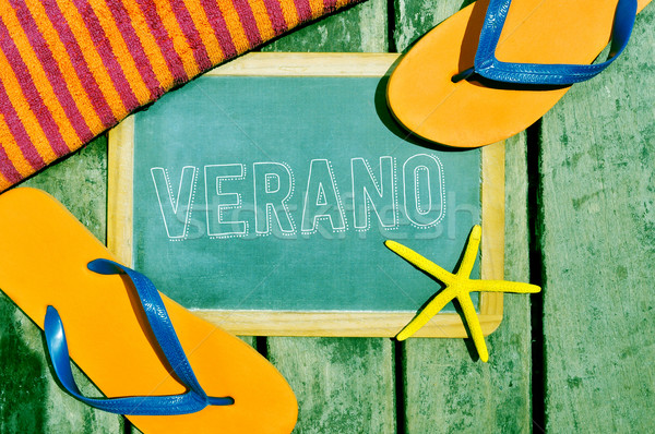 flip-flops, starfish and chalkboard with the word verano, summer Stock photo © nito