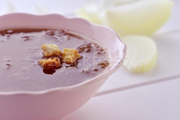 Hagyma leves közelkép tál fehér felület Stock fotó © nito