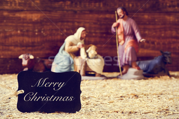 holy family and text merry christmas Stock photo © nito