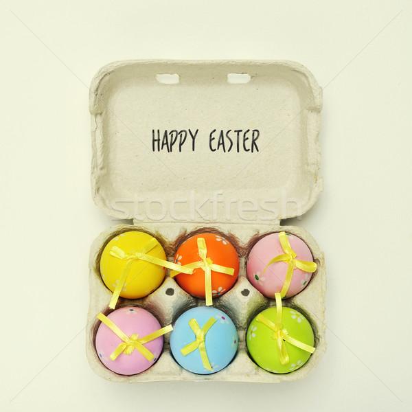 Szöveg kellemes húsvétot díszített tojások tojás karton Stock fotó © nito