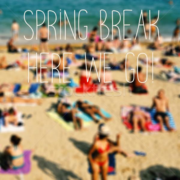 Szöveg tavaszi szünet itt elmosódott tengerpart sok Stock fotó © nito