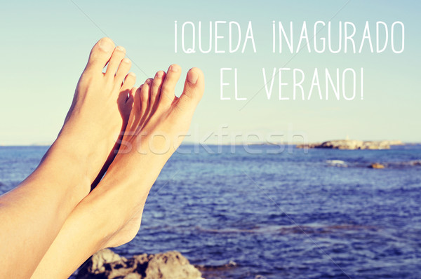 text queda inaugurado el verano, the summer is inaugurated in Sp Stock photo © nito
